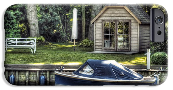 Cabin Interiors iPhone Cases - Boat Dock iPhone Case by Wim Lanclus