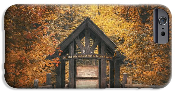 Fall Colors iPhone Cases - Seven Bridges Trail Head iPhone Case by Scott Norris