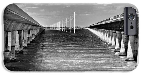 Beach Landscape iPhone Cases - seven mile bridge BW iPhone Case by Rudy Umans