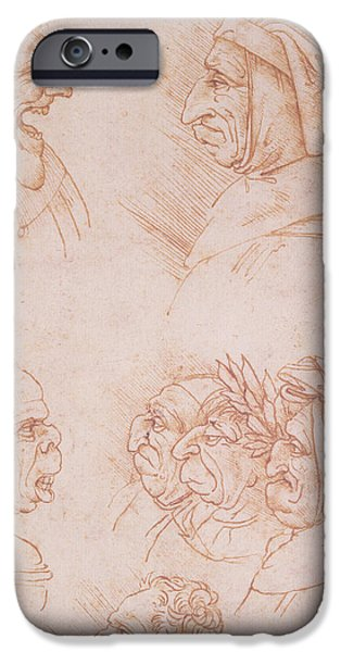 Renaissance iPhone Cases - Seven Studies of Grotesque Faces iPhone Case by Leonardo da Vinci