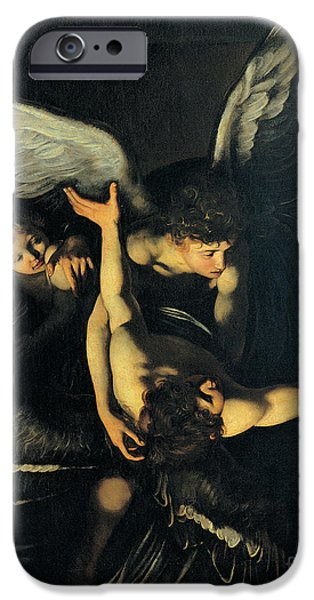 Innocence Paintings iPhone Cases - Seven Works of Mercy iPhone Case by Caravaggio