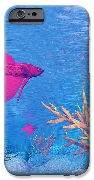 Several Red Betta Fish Swimming iPhone Case by Elena Duvernay