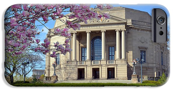 Symphony Hall iPhone Cases - Severance Hall Magnolias  iPhone Case by Clint Buhler
