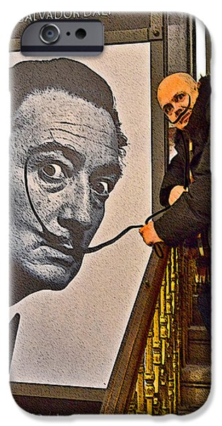 Charles Bridge Digital Art iPhone Cases - Severe Ordeals. Selfie with Salvador Dali  iPhone Case by Andy Za