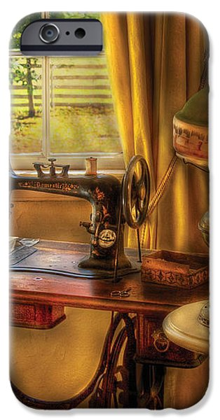 Sewing Machine - Domestic Sewing Machine iPhone Case by Mike Savad