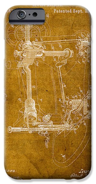 Sewing iPhone Cases - Sewing Machine Vintage Patent on Worn Canvas iPhone Case by Design Turnpike