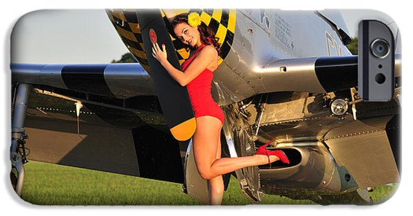 World War One iPhone Cases - Sexy 1940s Style Pin-up Girl Posing iPhone Case by Christian Kieffer