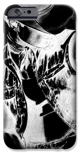 Figure iPhone Cases - Black And White Sexy Cowboy  iPhone Case by Rjf at beautifullart  RJ   Friedenthal