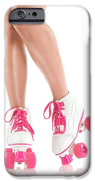 Roller Skates iPhone Cases - Sexy girl legs in white pink roller skates iPhone Case by Oleksiy Maksymenko