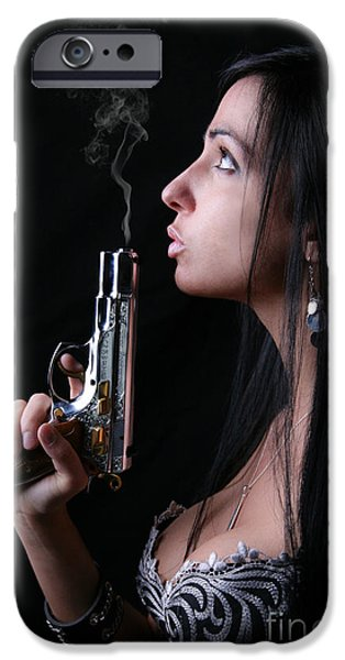 Suggestive Photographs iPhone Cases - Sexy Gunner iPhone Case by Jt PhotoDesign