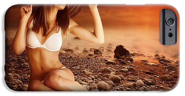Summer iPhone Cases - Sexy model on the beach on sunset iPhone Case by Anna Omelchenko