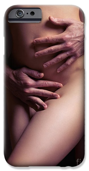 Intimacy Photographs iPhone Cases - Sexy nude couple embracing iPhone Case by Oleksiy Maksymenko