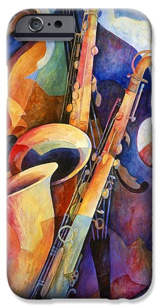 Contemporary Fine Art iPhone Cases - Sexy Sax iPhone Case by Susanne Clark