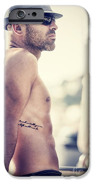 Sailboat Ocean iPhone Cases - Sexy shirtless sailor iPhone Case by Anna Omelchenko