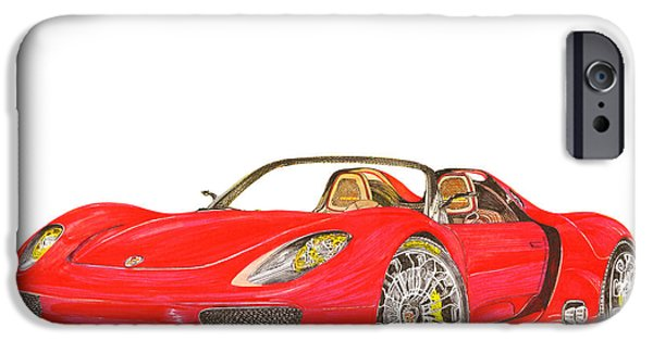 Disc Drawings iPhone Cases - Sexy Spyder Porsche 918 iPhone Case by Jack Pumphrey