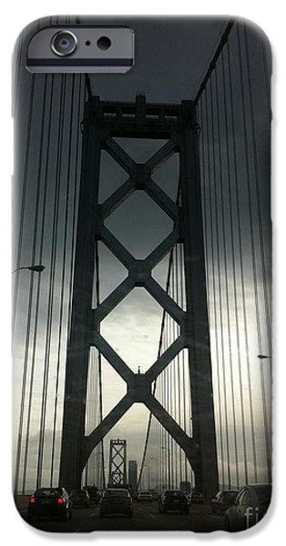 Engineering Pyrography iPhone Cases - SF Bay Bridge before recent facelift iPhone Case by Sherri Durrell