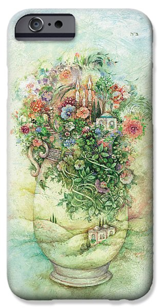 Ancient Paintings iPhone Cases - Shabbat Vase iPhone Case by Michoel Muchnik