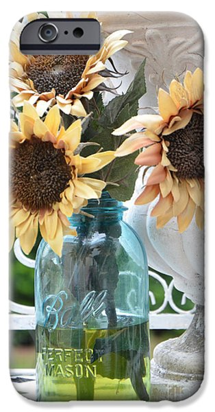 Sunflower Photograph iPhone Cases - Shabby Chic Autumn Fall Yellow Sunflowers In Mason Ball Jar - Vintage Flowers Mason Jar  iPhone Case by Kathy Fornal