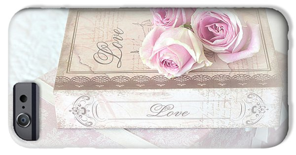 With Love iPhone Cases - Shabby Chic Cottage Chic Dreamy Pastel Pink Cottage Roses With Romantic Love Pink Books iPhone Case by Kathy Fornal