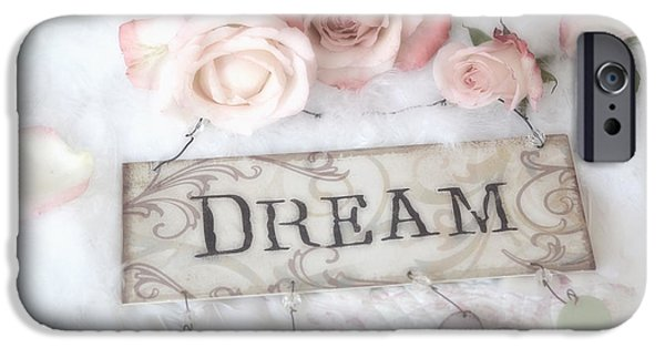 Recently Sold -  - Basket iPhone Cases - Shabby Chic Cottage Pink Roses With Dream Words - Shabby Chic Dreamy Romantic Photos iPhone Case by Kathy Fornal