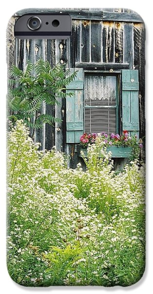 Cabin Window iPhone Cases - Shabby Chic Window-n-Time iPhone Case by Julie Ketchman
