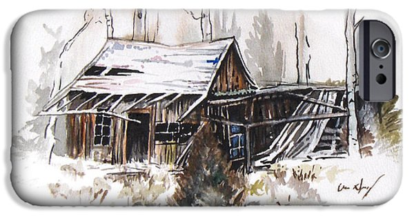 Shed Drawings iPhone Cases - Shack iPhone Case by Aaron Spong