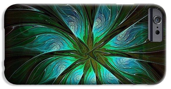Floral Digital Art Digital Art iPhone Cases - Shades of Green iPhone Case by Amanda Moore