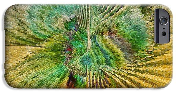 Generative Digital Art iPhone Cases - Shades of Green iPhone Case by Deborah Benoit