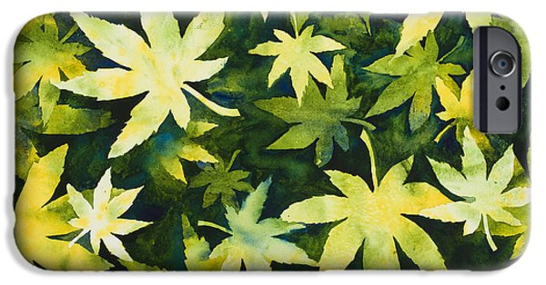 Relief Print iPhone Cases - Shades of Green iPhone Case by Mary Giacomini