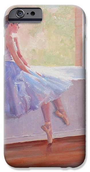 Ballet Dancers iPhone Cases - Shades of Lavender Two iPhone Case by Laura Lee Zanghetti