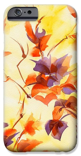 Summer Celeste iPhone Cases - Shadow Leaves iPhone Case by Summer Celeste