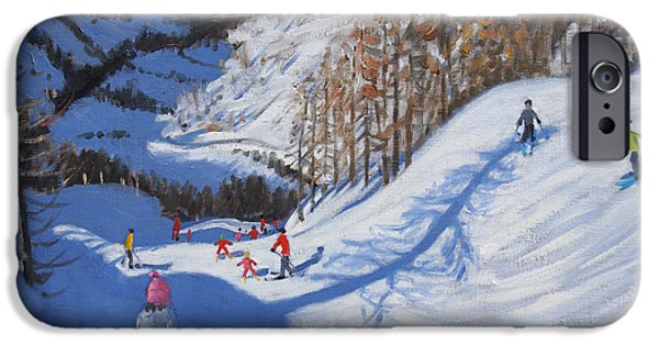 Winter Sports Paintings iPhone Cases - Shadow of a fir tree and skiers at Tignes iPhone Case by Andrew Macara