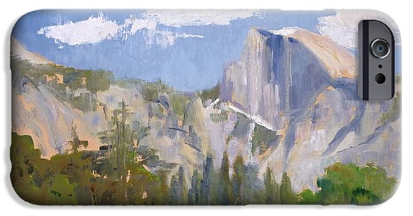 Half Dome Paintings iPhone Cases - Shadow Over Half Dome iPhone Case by Sharon Weaver