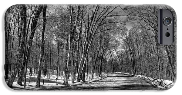 Snow Scene iPhone Cases - Shadow Play on Rondaxe Road iPhone Case by David Patterson