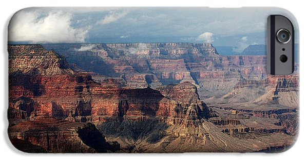 Grand Canyon Digital Art iPhone Cases - Shadow Races iPhone Case by Joe Kozlowski