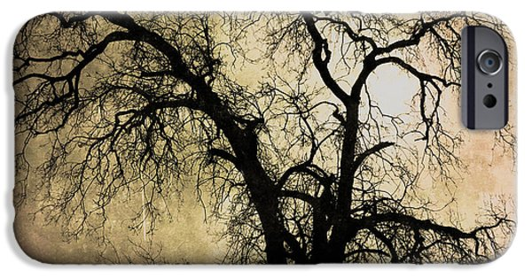 Creepy Pyrography iPhone Cases - Shadowlands 13 iPhone Case by Bedros Awak