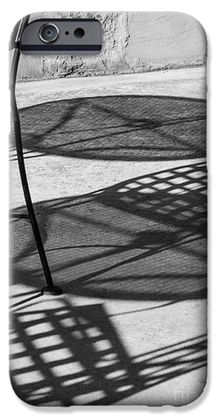 Patio Table And Chairs iPhone Cases - Shadows outdoor cafe tables and chairs iPhone Case by IBC Stock Images
