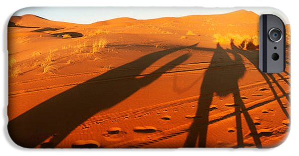 Sahara Sunlight iPhone Cases - Shadows Of Camel Riders In The Desert iPhone Case by Panoramic Images