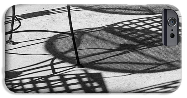 Patio Table And Chairs iPhone Cases - Shadows of Outdoor Cafe II iPhone Case by Imagery by Charly