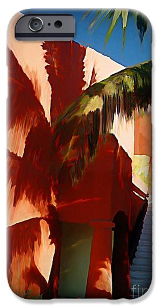 Halifax Art Work iPhone Cases - Shadows of Palm Leaves iPhone Case by John Malone