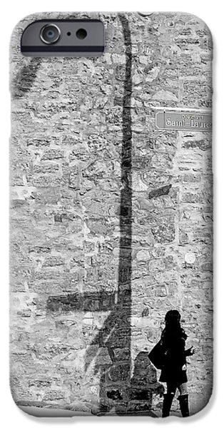 Rosen iPhone Cases - Shadows on St-Laurent iPhone Case by Valerie Rosen