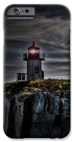 Nubble Lighthouse iPhone Cases - Shadowy Light iPhone Case by Deborah Klubertanz