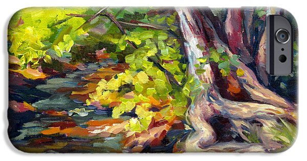 Oak Creek Paintings iPhone Cases - Shady Creek iPhone Case by Sandy Farley