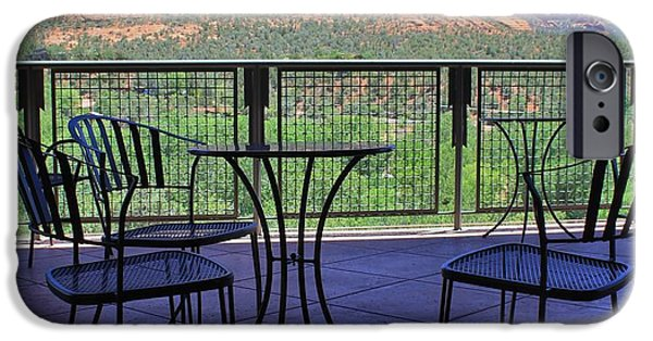 Sedona iPhone Cases - Shady Table With A View iPhone Case by Mo Barton