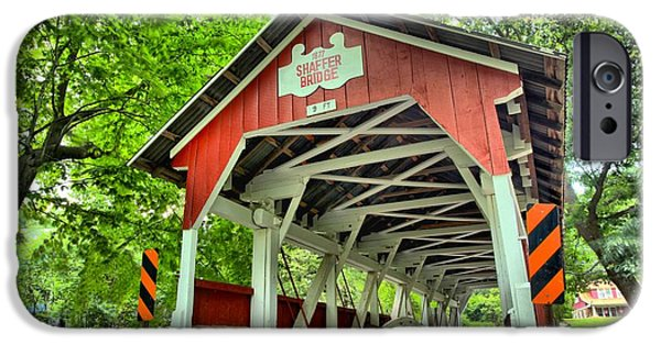 Covered Bridge iPhone Cases - Shafer Covered Bridge iPhone Case by Adam Jewell