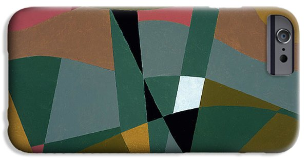 Abstracts iPhone Cases - Shafted Landscape, 2001 Oil On Board iPhone Case by George Dannatt