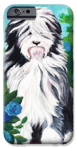 Puppy Love Greeting Cards iPhone Cases - Shaggy Pup iPhone Case by MarLa Hoover