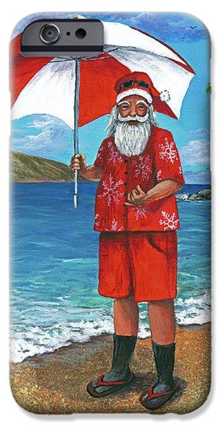 Red Canoe iPhone Cases - Shaka Santa iPhone Case by Darice Machel McGuire