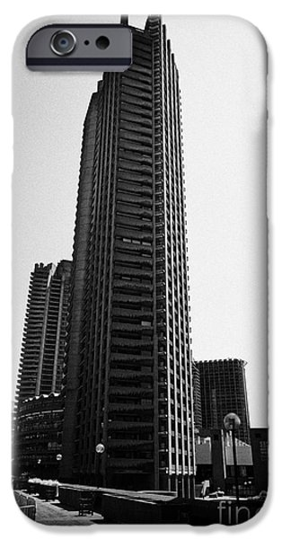 Brutalist iPhone Cases - Shakespeare Tower In The Barbican Residential Estate London England Uk iPhone Case by Joe Fox