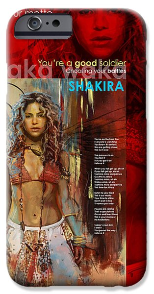 Celebrities Art Paintings iPhone Cases - Shakira Art Poster iPhone Case by Corporate Art Task Force